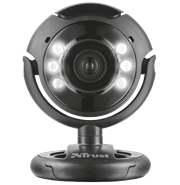 Trust USB Spotlight Webcam Pro-640×480 Sensor Resolution, Suitable For Use With Skype, Zoom, Teams, Etc. Integrated Dimmable LED Lights For Recording In Low Light Conditions, Built-In Microphone For Clear Sound Quality, Smart Stand; Works On Laptop Screens And Flat Surfaces, Black, Retail Box , 1 Year Limited Warranty