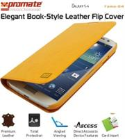 Promate Tama-S4 Elegant Book-Style Leather Flip Cover for Samsung Galaxy S4-OrangeBlue Retail Box 1 Year Warranty