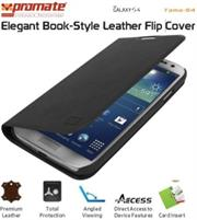 Promate Tama-S4 Elegant Book-Style Leather Flip Cover for Samsung Galaxy S4-Black Retail Box 1 Year Warranty