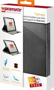 Promate Tempo Protective Leather Case with Multi-level Stand Support for iPad mini-Black, Retail Box, 1 Year Warranty