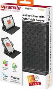 Promate Totan -Leather Cover with Multifunctional Detachable Inner Sleeve for iPad mini, Retail Box, 1 Year Warranty