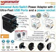 Promate Travelmate.Mobi ,Universal Auto-Switch Power Adaptor with 2 Ultra-Fast USB Ports and a power socket, Retail Box , 1 Year Warranty