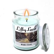 Lilly Lane Winter Frost Scented Candle Large Lidded Mason Glass Jar – Wax Capacity 510grams, Burn Time Up to 75 Hours, High Quality Premium paraffin wax, Natural Material Wick , 100% recyclable, Large Lidded Mason Glass Jar Retail Box No warranty