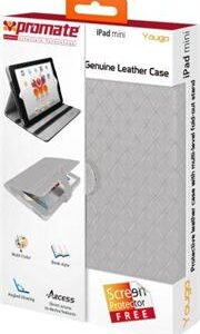 Promate Youga Premium Protective Leather Case for ipad Mini-White, Retail Box, 1 Year Warranty