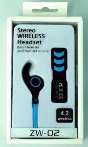 Geeko ZW-02 Wireless Bluetooth Earphones , BT4.2 , Rechargeable Polymer Lithium-on Battery -Blue, Retail Box , 1 year Limited Warranty