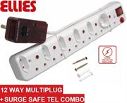 Ellies 12 Way Surge Safe Tel Combo Power Protector – 5 x 2 pin Euro slots, 1 x 2 pin Schuko socket and 6 x 3 pin sockets with Surge Safe Tel Combo unit, Sold as a Single unit, 3 Months Warranty
