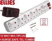 Ellies 12 Way Surge Safe Tel Combo Power Protector – 5 x 2 pin Euro slots, 1 x 2 pin Schuko socket and 6 x 3 pin sockets with Surge Safe Tel Combo unit, Sold as a Single unit, 3 Months Warranty