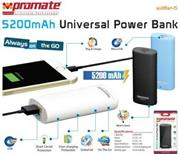 Promate AidBar-5- Universal Power Bank 5200 mAh Universal Power Bank Black,Retail Box , 1 Year Warranty