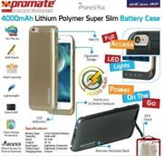 Promate aidCase-i6P 4000mAh Lithium Polymer Super Slim Battery Case – Gold, Retail Box , 1 Year Warranty