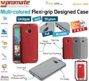 Promate Akton-M8 Multi-colored flexi-grip designed case for HTC One M8 Colour:Red, Retail Box , 1 Year Warranty