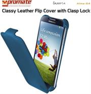 Promate Alma-S4 Classy Leather Flip Cover with Clasp Lock for Samsung Galaxy S4-Blue Retail Box 1 Year Warranty