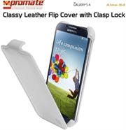 Promate Alma-S4 Classy Leather Flip Cover with Clasp Lock for Samsung Galaxy S4-Whiteue Retail Box 1 Year Warranty