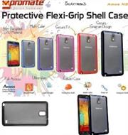 Promate Amos N3 Protective flexi-grip designed shell case for Samsung Note 3 Colour:Black, Retail Box , 1 Year Warranty