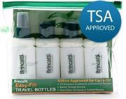 Tevo Brincatti® Travel bottle Kit HBB001 – Easily pack the travel kit in any carry on, The travel kit is leak proof. No more bottle mishaps, No more lotion all over the inside of your bag, You can take your favorite shampoos, conditioners, lotions, hair sprays and more with you, Reduce waste by eliminating disposal plastic products, Patented large mouth bottle design, Meets all TSA airline approval requirement for carry-on, No pumps or funnels required to fill bottles, PBA Free, manufactured with recycled materials, Retail Box, No warranty