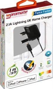 Promate ChargMateLT-UK Multifunction Lightning Home charger for iPad, iPhone and iPod, UK Standard. , Retail Box, 1 Year Warranty