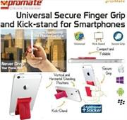 Promate Gripmate Universal Smartphone Secure Finger Grip and Kick-stand-Maroon,Retail Box , 1 Year Warranty