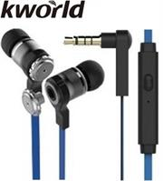 Kworld KW S28 In Ear Elite Mobile Gaming Earphones Stereo Silicone Earbuds with In-line intelligent Control Microphone , 9mm Driver Unit , Sensitivity: 95 ±3 dB/mW , 1.2 metre Soft TPE Flat Cable , 4 Pin 3.5mm Gold Plated Jack – Blue, Retail Box , 1 year Limited Warranty