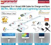 Promate linkMate-trio Integrated 3 in 1 Smart USB Cable for Charge and Sync Lightning, 30 Pin and Micro-USB – 1 Meter – White, Retail Box, 1 Year Warranty