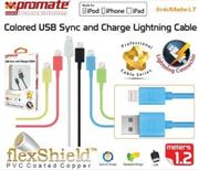 Promate LinkMate-LT Apple MFI Certified Lightning Sync & Charge Cable, 120cm Length., Peach, Retail Box, 1 Year Warranty