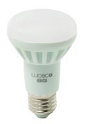 Luceco R63 E27 – LR63N7W55 – Natural White, 7W LED equivalent to 45W traditional bulb, 84.44% lower power consumption compared to a standard bulb, 550 Lumens output, 4000K Natural White colour temperature, 110-degree beam angle to give large illumination area, E27 Light fitting used in ceiling roses and table lamps, 15,000-hour lifespan, Not for use in dimmers, Retail Box, 1 year warranty
