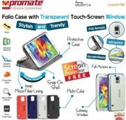 Promate Lucent S5 Bookcover with T-Screen Window Colour: White, Retail Box , 1 Year Warranty