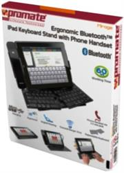 Promate Mirage iPad Ergonomic Bluetooth™ Keyboard Stand with Phone Handset,An ultra-slim phone handset adds up to its rich features which also has its own holder to set the handset in place,allows you a complete access to the tablet for ergonomic typing experience,Transmit range: 10m, Retail Box, 1 Year Warranty