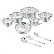Salton 15 Piece Pot Set – 1 x 16cm casserole with lid, 1 x 16cm saucepan with lid, 1 x 18cm casserole with lid, 1 x 20cm casserole with lid, 1 x 24cm casserole with lid, 1 x 24cm frypan with lid,1 x Skimmer, 1 x Soup Ladle, 1 x Spoon Retail Box 1 year warranty
