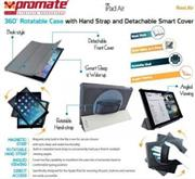 Promate Reel.Air -360˚ Rotatable Case with Hand Strap and Detachable Smart Cover for iPad Air-Grey, Retail Box, 1 Year Warranty