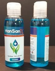 Casey Han SanX 100ml Hand and Surface Alcohol Based Sanitiser -70% Ethanol Alcohol , Water , Syperonic NP9, Glycerine Light Blue Liquid Retail Box No Warranty