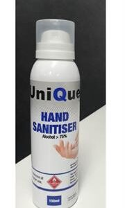 Casey UniQue 150ml Hand and Surface Alcohol Based Sanitiser -75% Ethanol , Water , Glycerine Clear Liquid Retail Box No Warranty
