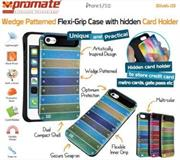 Promate Slab.i5-Wedge Patterned Flexi-Grip Case with hidden card holder for iPhone 5/5S Colour: Green Retail Box, 1 Year Warranty