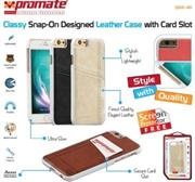 Promate Slit-i6 Classy Snap-On leather case with card slot For iPhone 6 Colour: Brown, Retail Box , 1 Year Warranty