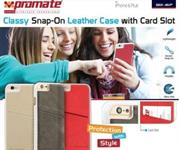 Promate Slit-i6P Classy Snap-On leather case with card slot – Grey, Retail Box , 1 Year Warranty