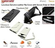 Promate Tacca-Luxurious Leather Flip Cover with Secure Snap-on Shell for iPhone 5 / 5s-White Retail Box 1 Year Warranty