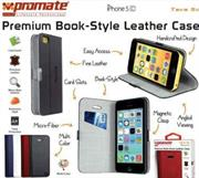 Promate Tava 5C Book-Style Flip Case with Card Slot for iPhone5c Colour:Black, Retail Box , 1 Year Warranty