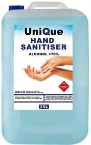 Casey UniQue HanPro 25 Litre Hand and Surface Alcohol Based Sanitiser-70% Ethanol Alcohol Hydrogen Peroxide , Glycerine Light Blue Liquid Retail Box No Warranty