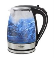 Mellerware 1.8L Glass Kettle Silver – 1.7l capacity, 2200w, 360-degree cordless kettle, Concealed heating element, Auto shut off, boil-dry protection, Led lighting ring, Fada control Retail Box 2-year warrantyRetail Box 2-year warranty